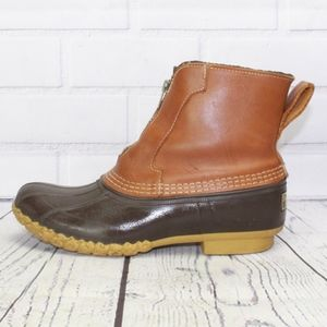 LL Bean Shearling Lined Zip Front Duck Boots Sz 7N